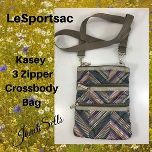 LeSportSac Kasey 3 Zipper Crossbody Shoulder Bag
